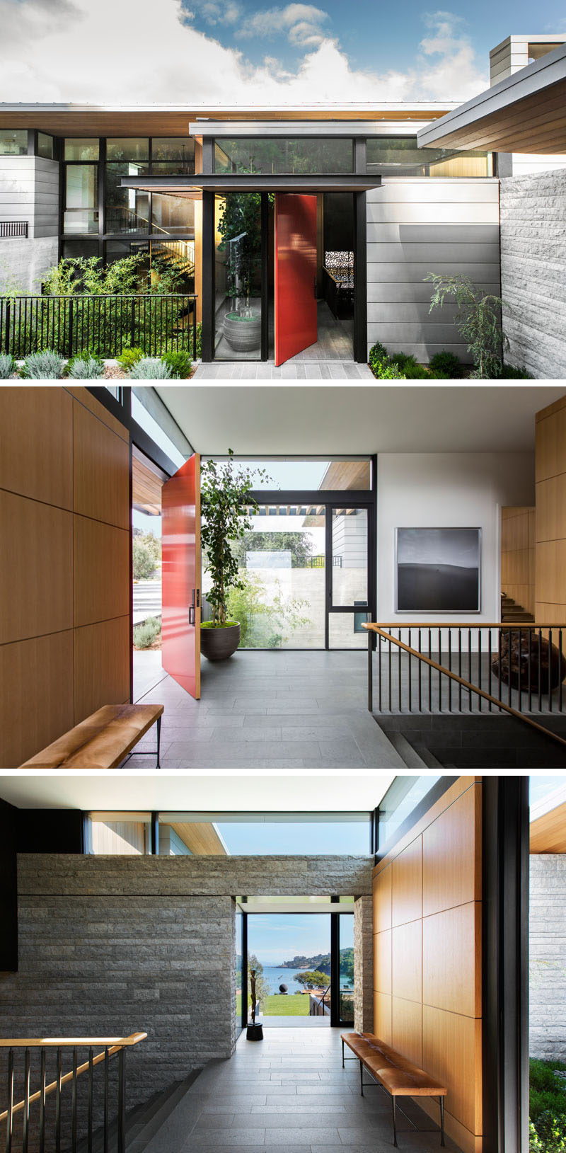 A bold red pivoting front door welcomes you to this modern house, and once inside, there's an entryway that provides access to two separate sets of stairs.