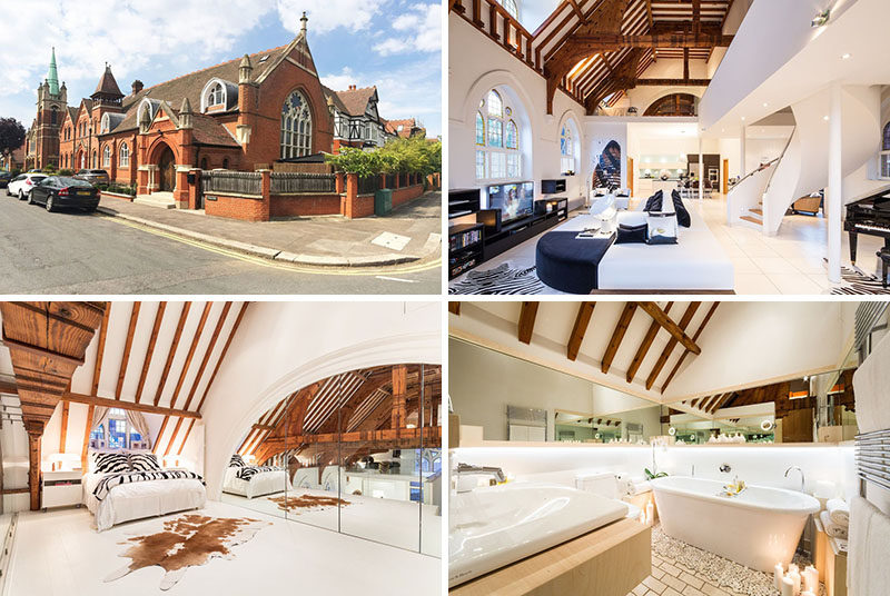 Gianna Camilotti Interiors have transformed a Victorian church in London, England, that has a bright and open interior, and is also available as a rental property. #ChurchConversion #RenovatedChurch #InteriorDesign #ModernInterior