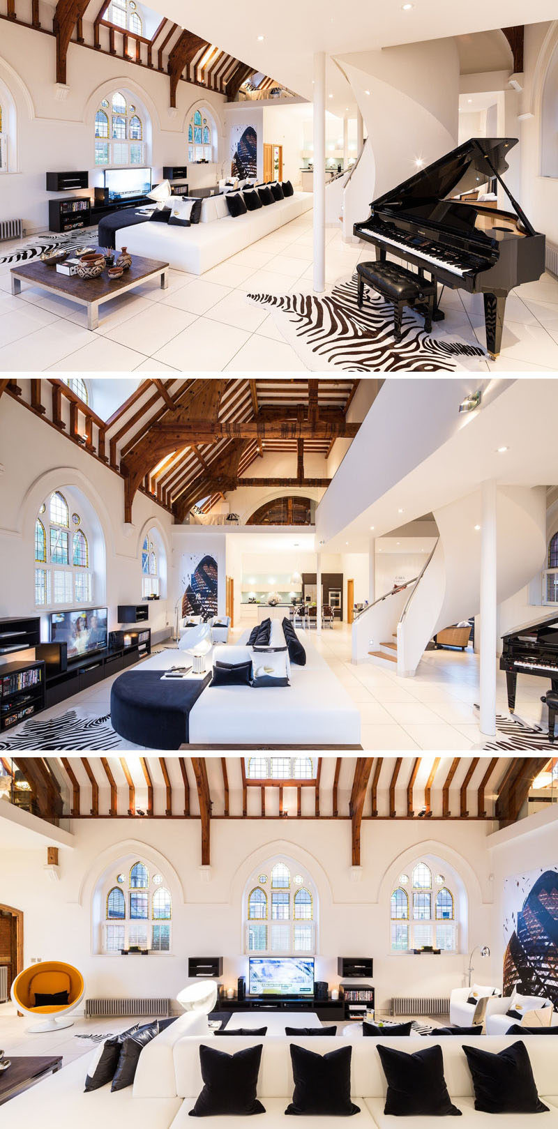 The interior of this renovated church has retained original features like the beamed high ceiling and stained glass windows, and combined them with contemporary furnishings and bright white walls and flooring. #RenovatedChurch #ChurchConversion #ModernInteriorDesign #InteriorDesign #Windows