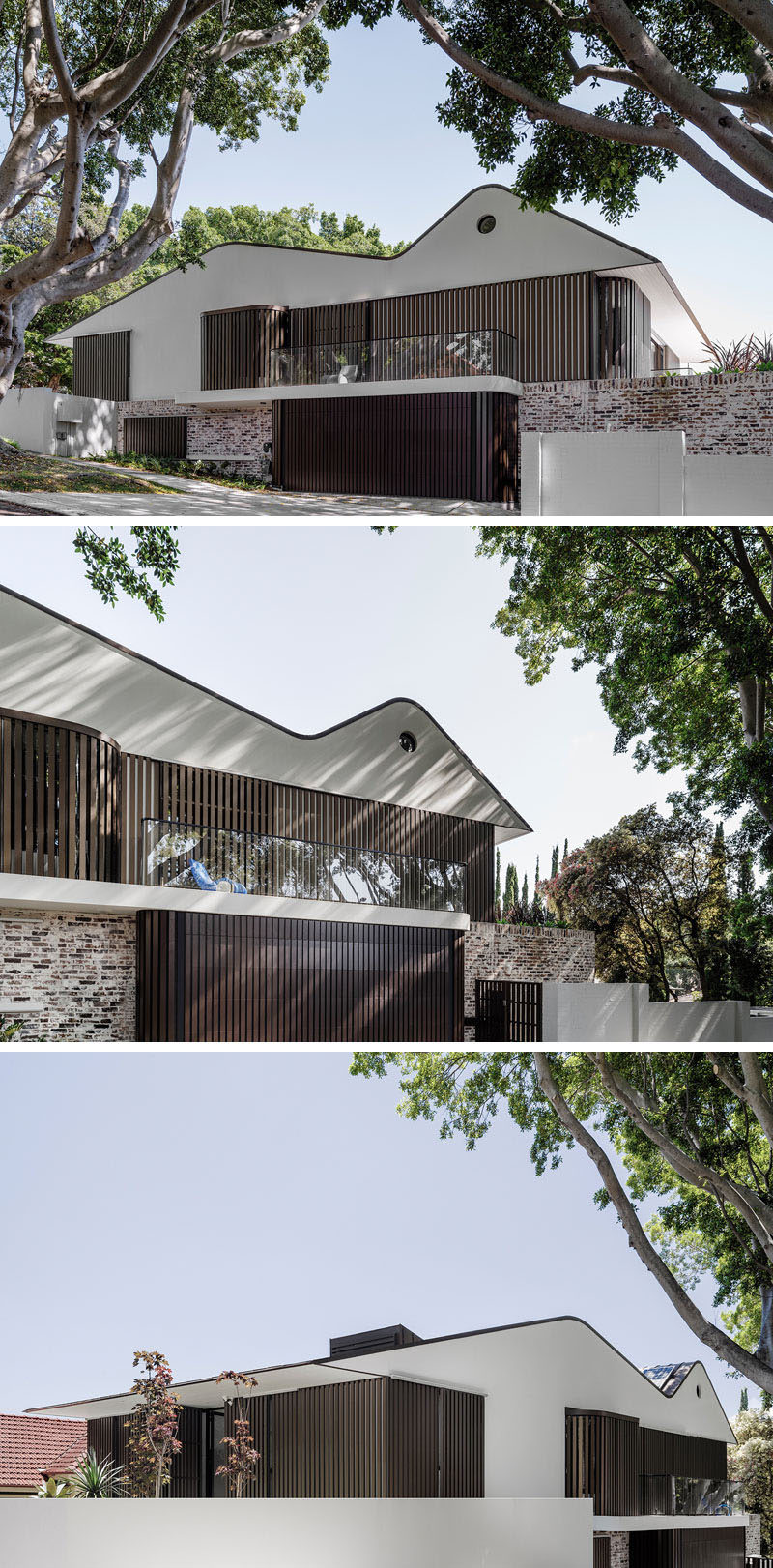 This house features white masonry gables and recycled bricks, combined with aluminum battens that screen the windows that face the street, creating a contemporary facade.