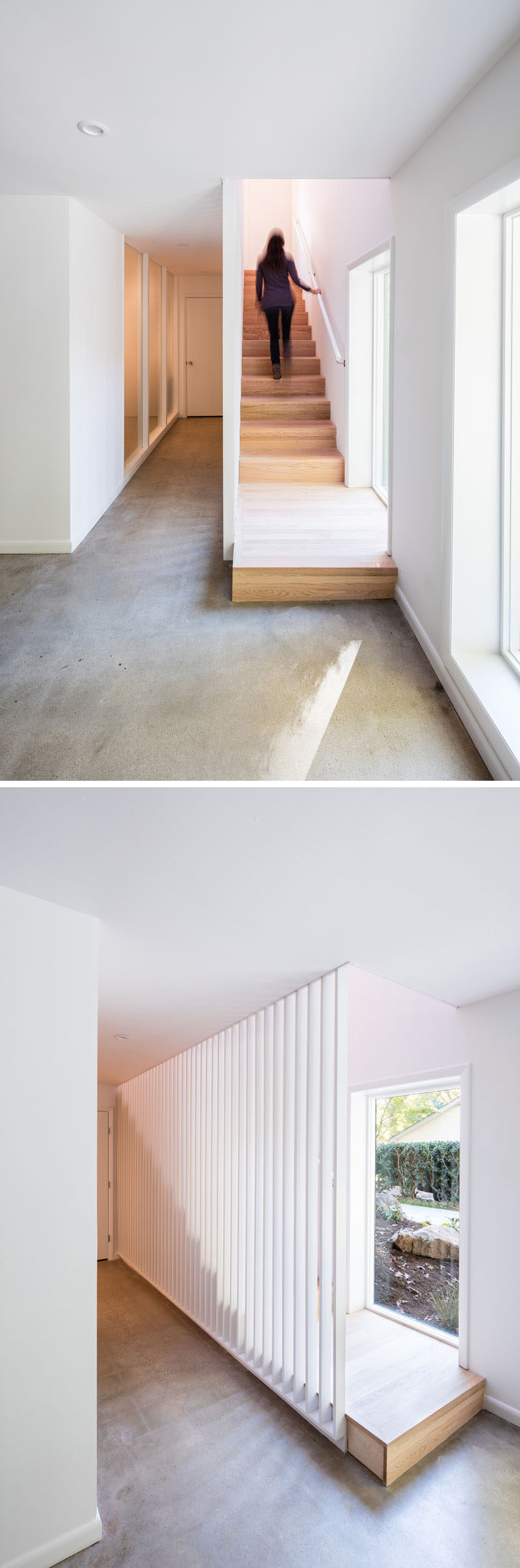 These simple and modern wood stairs add a natural touch to white interior, while slats allow light from the window to travel through the space.