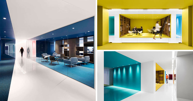 This office interior used color to create distinct spaces for Office design open concept