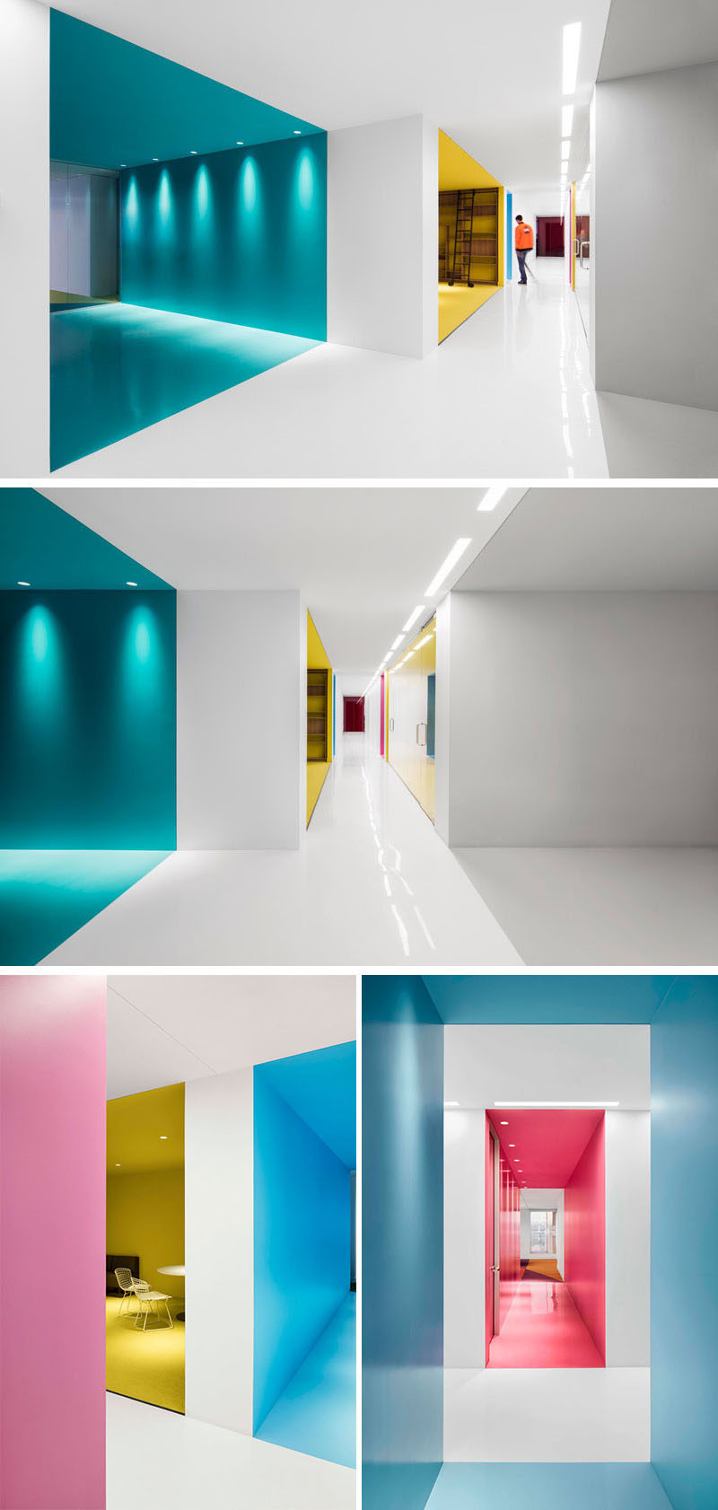 This office interior used color to create distinct spaces - Signe different open office ...