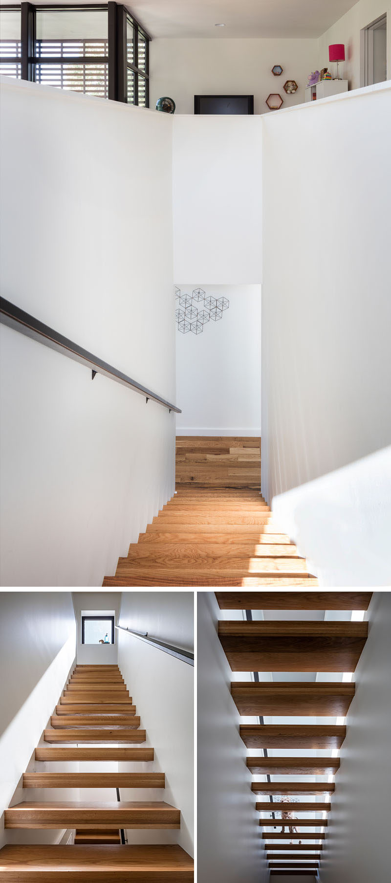 These modern wood stairs are surrounded by white walls and connect the various levels of the home.