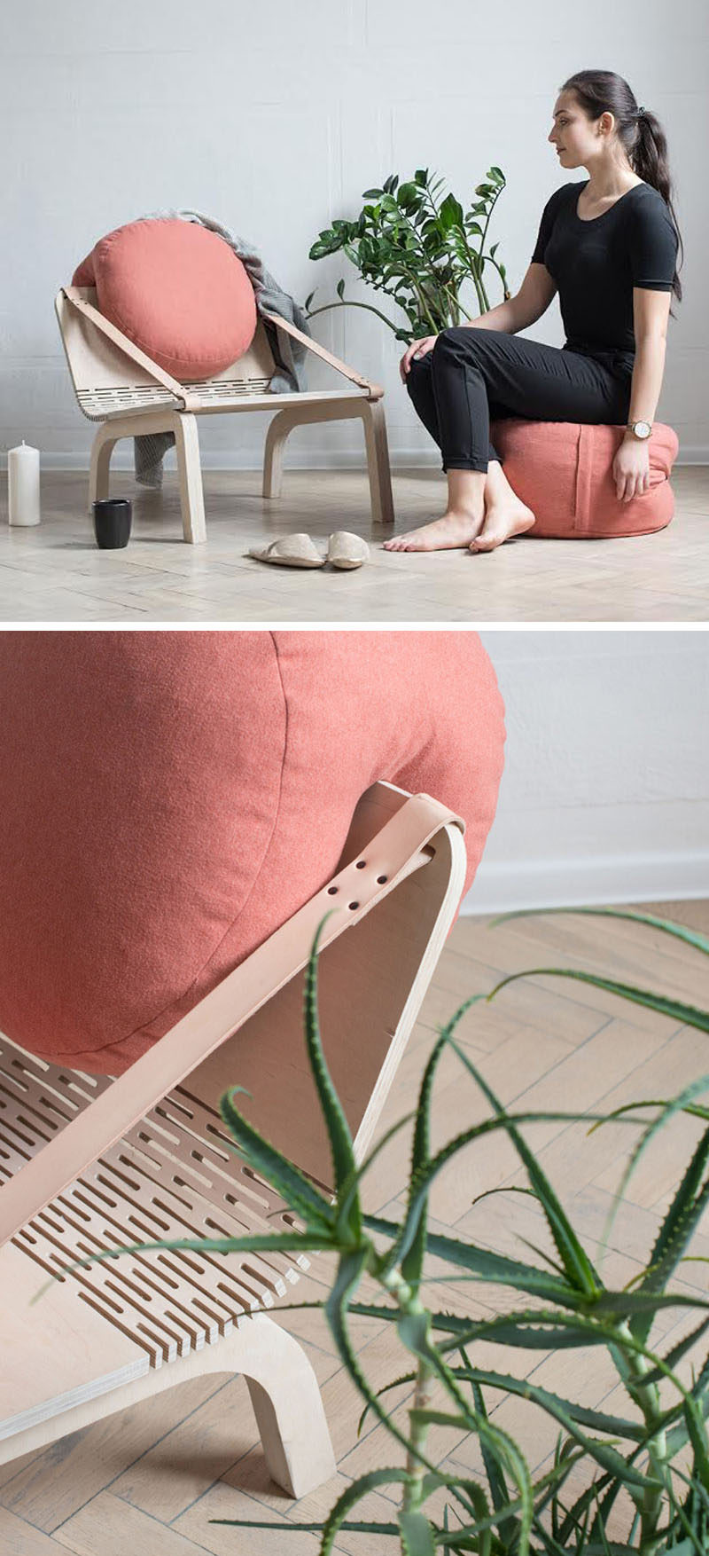 Agnieszka Kowal has designed 'Dango', a modern plywood armchair that has cushions that can be removed and used as poufs.