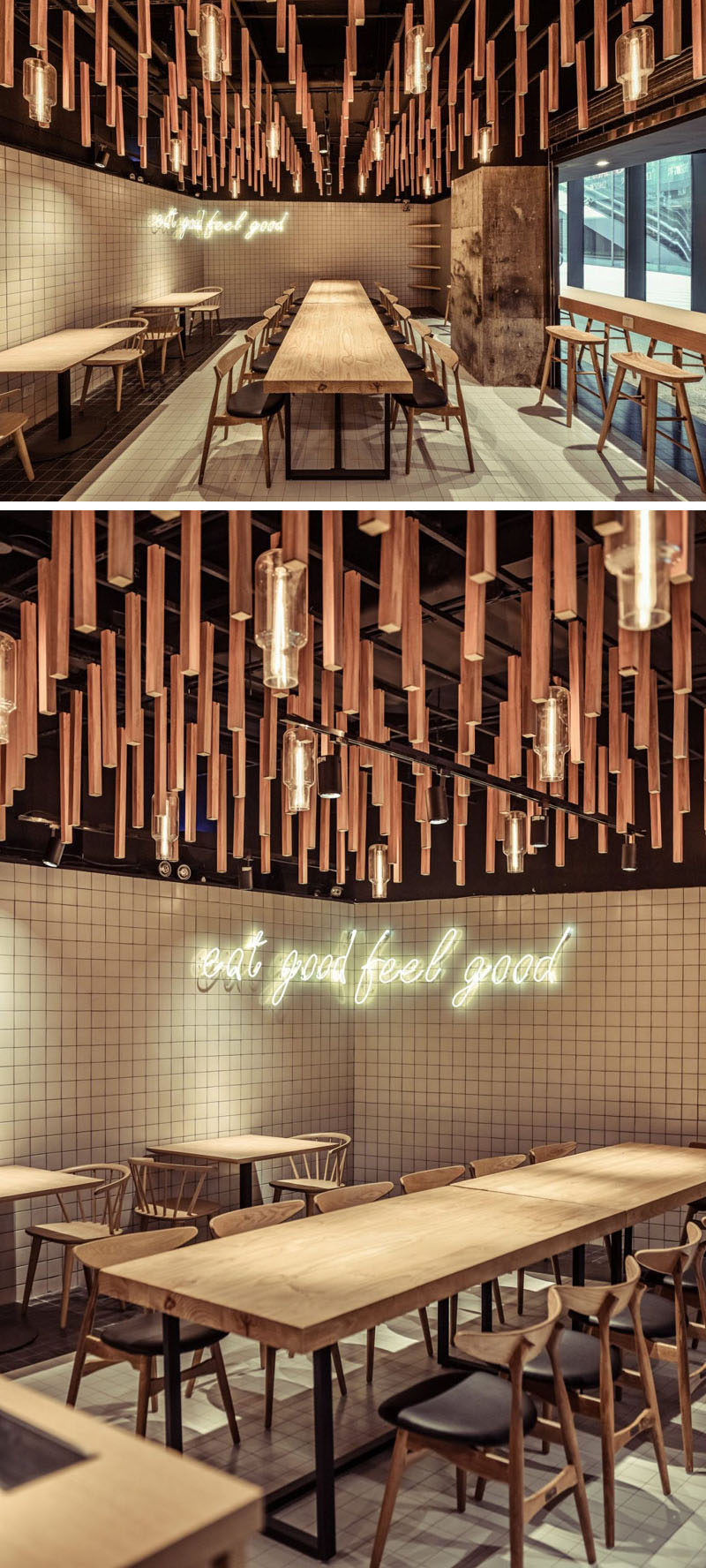 this new coffee shop in china uses wood elements to emulate nature