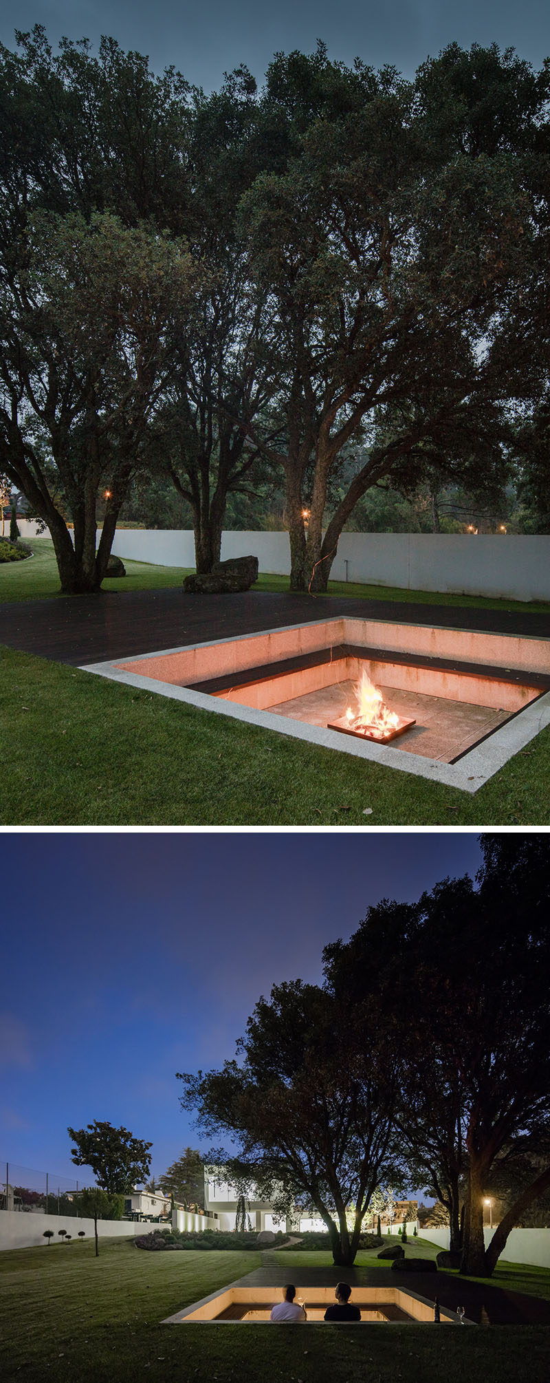 Sunken down into the grassy landscaped yard of this modern house, is a square lounging pit with built-in seating that wraps around the fire and allows people to lean against the wall. From the lounge, you are able to have a view of the house, and at night it's lit up, highlighting the design of the house. #FirePit #Landscaping #Backyard #OutdoorLounge #SunkenFirePit
