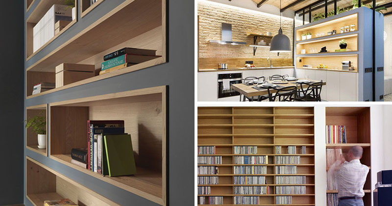 Built In Bookshelves Lined With Wood Are An Interesting Way To Highlight The Design And