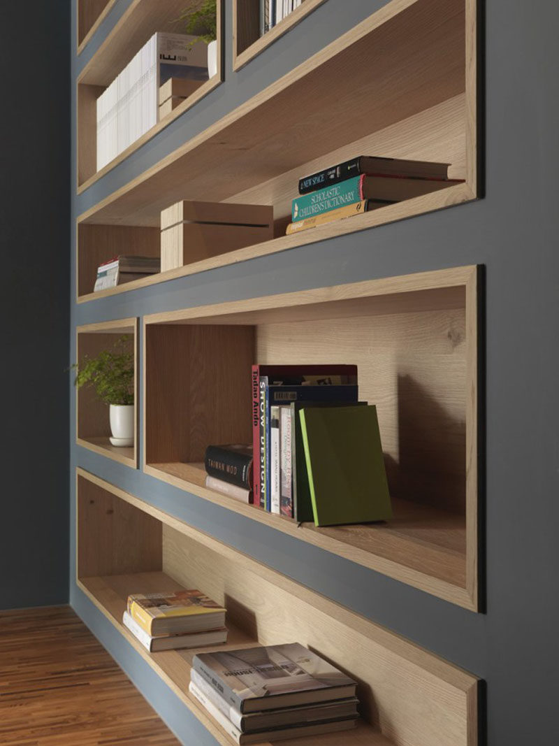 8 inspirational examples of built in shelves lined with wood contemporist - Contemporary built in bookshelves ...