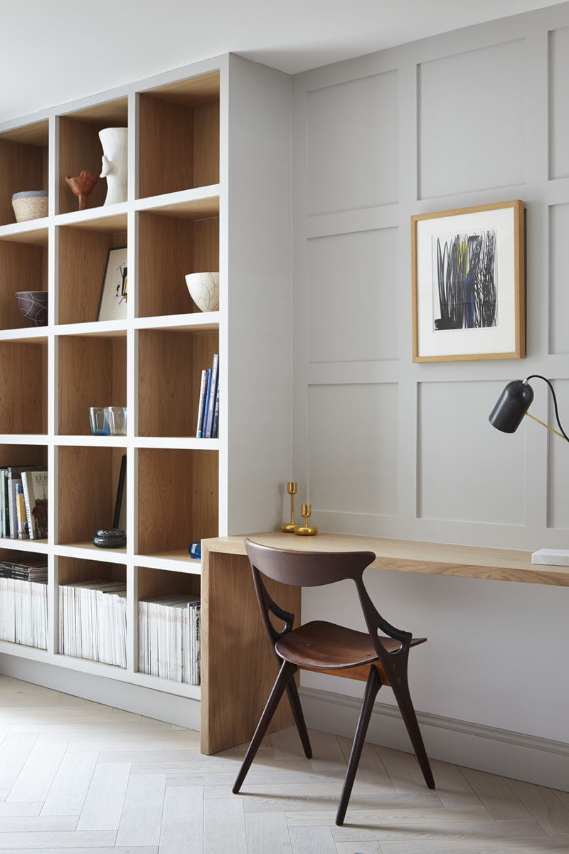Each Wood Box In This Built Shelving Unit Has The Front Painted Same Color As Wall To Allow Act An Accent