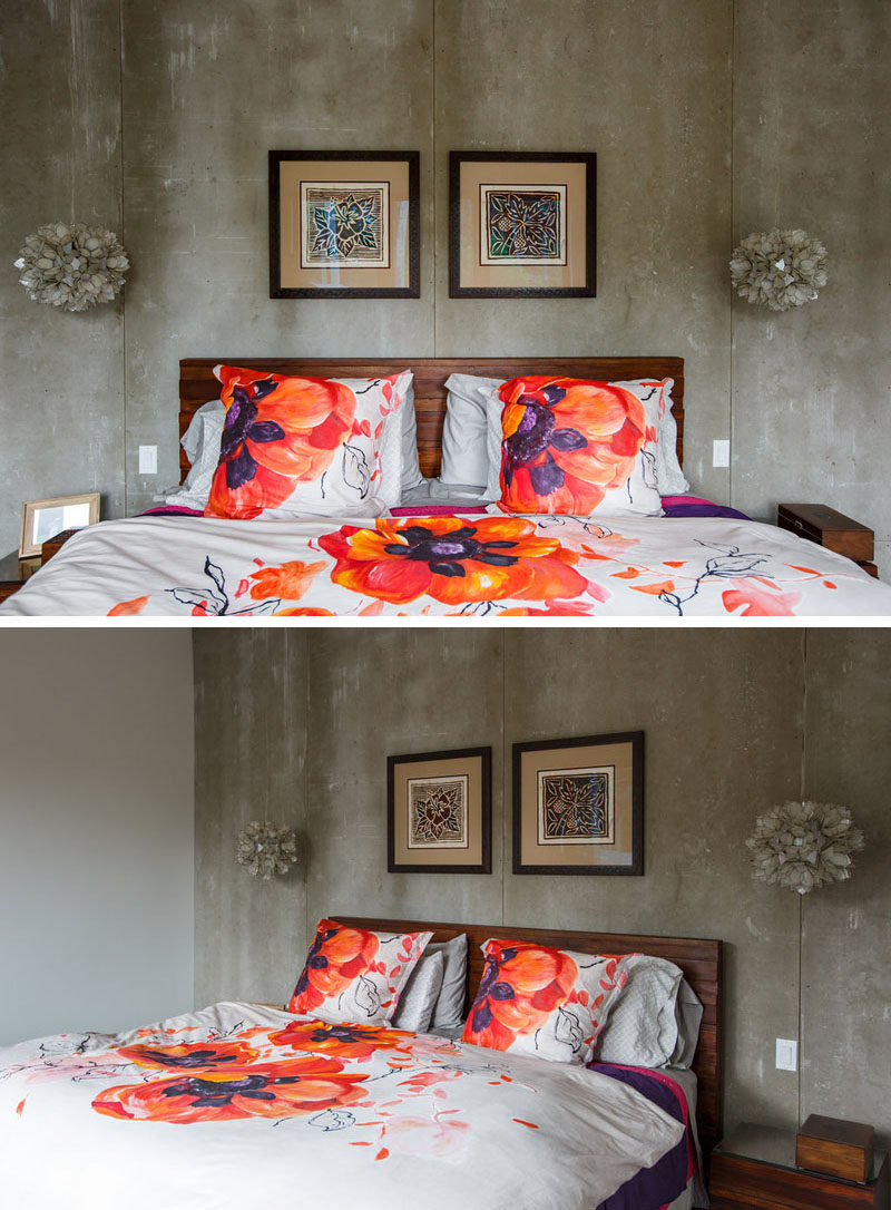 Bright bedding adds a pop of color to this modern bedroom. #Bedroom #InteriorDesign #ModernBedroom