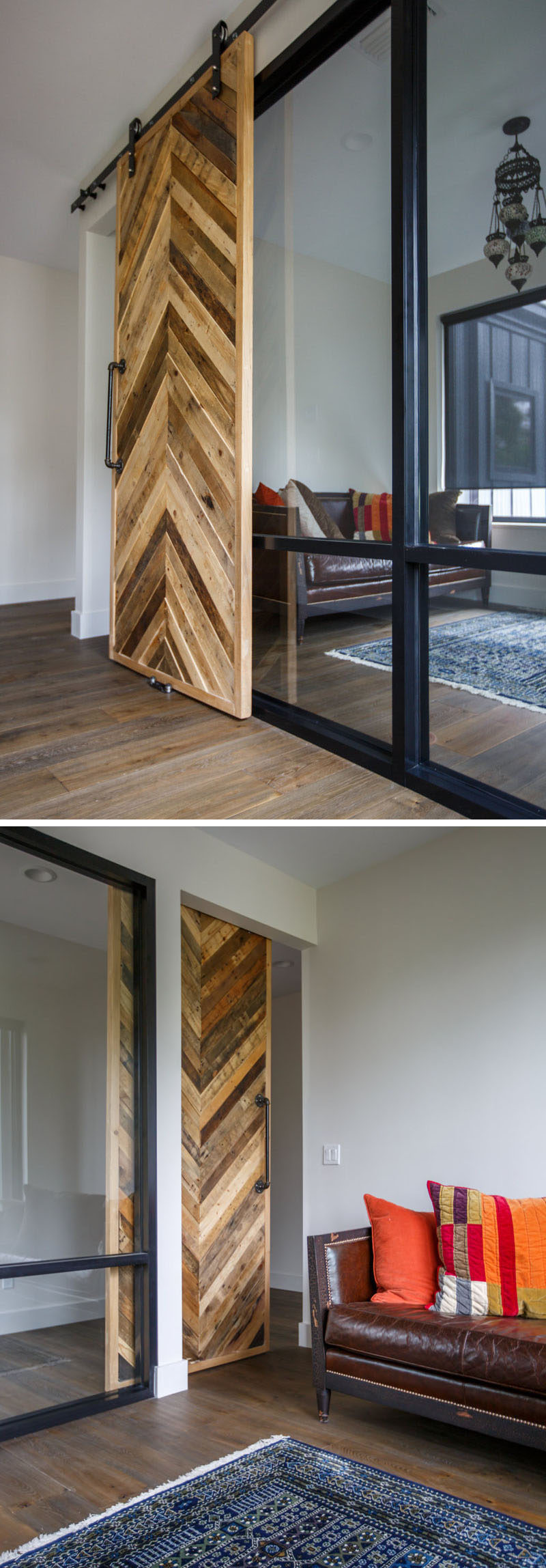 A sliding barn door made from recycled wood provides access to this home office, while natural light from the window flows through a glass wall, allowing the room to feel open to the rest of the house. #HomeOffice #SlidingBarnDoor #WoodDoor #InteriorDesign