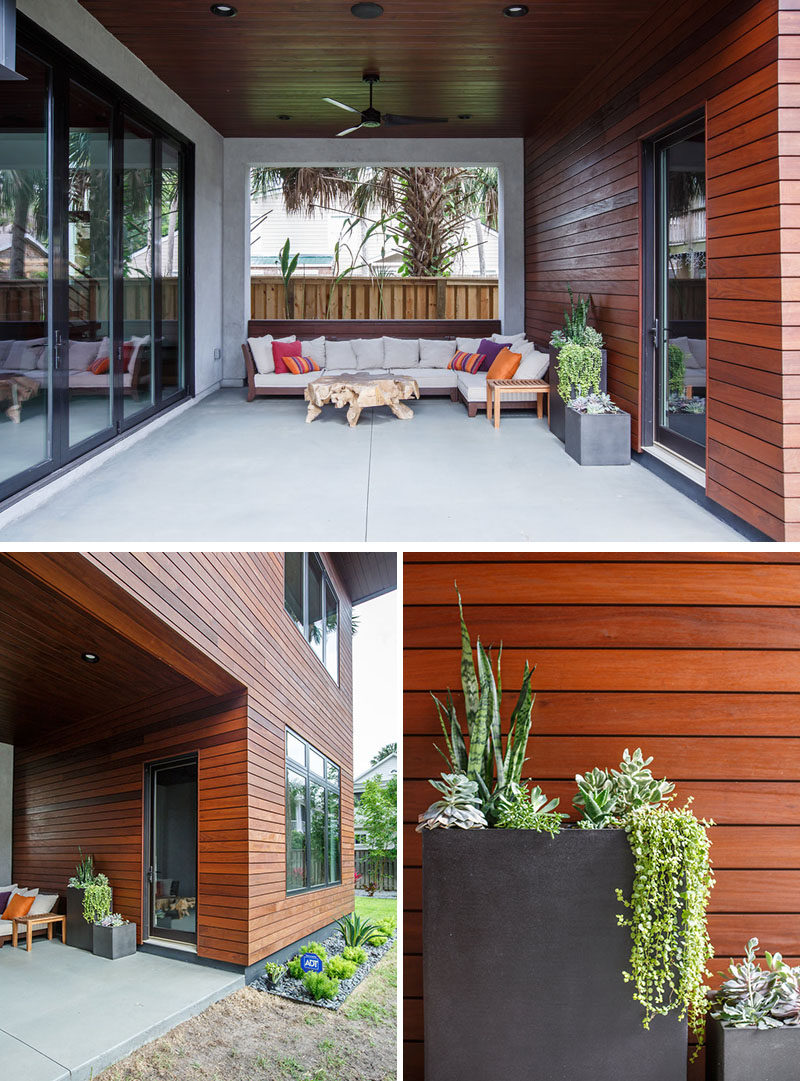 This modern house has a covered outdoor lounge area. #ModernHouse #OutdoorLounge #Architecture