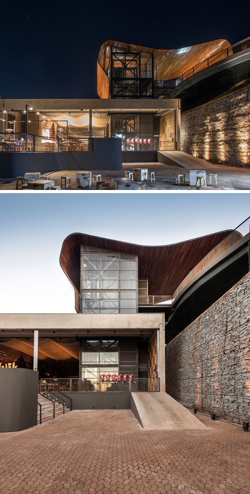This modern brewery, which features a large sculptural wood roof, includes a restaurant, shop, office, wine cellar, beer factory and an outdoor area for food trucks. #Brewery #ModernArchitecture #RetailDesign