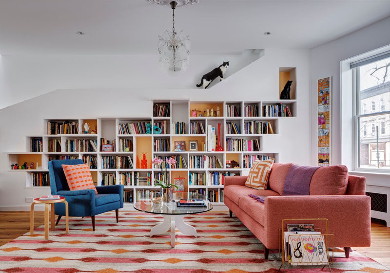 This Renovated Row House In Brooklyn Has A Custom Built Bookcase That Runs The