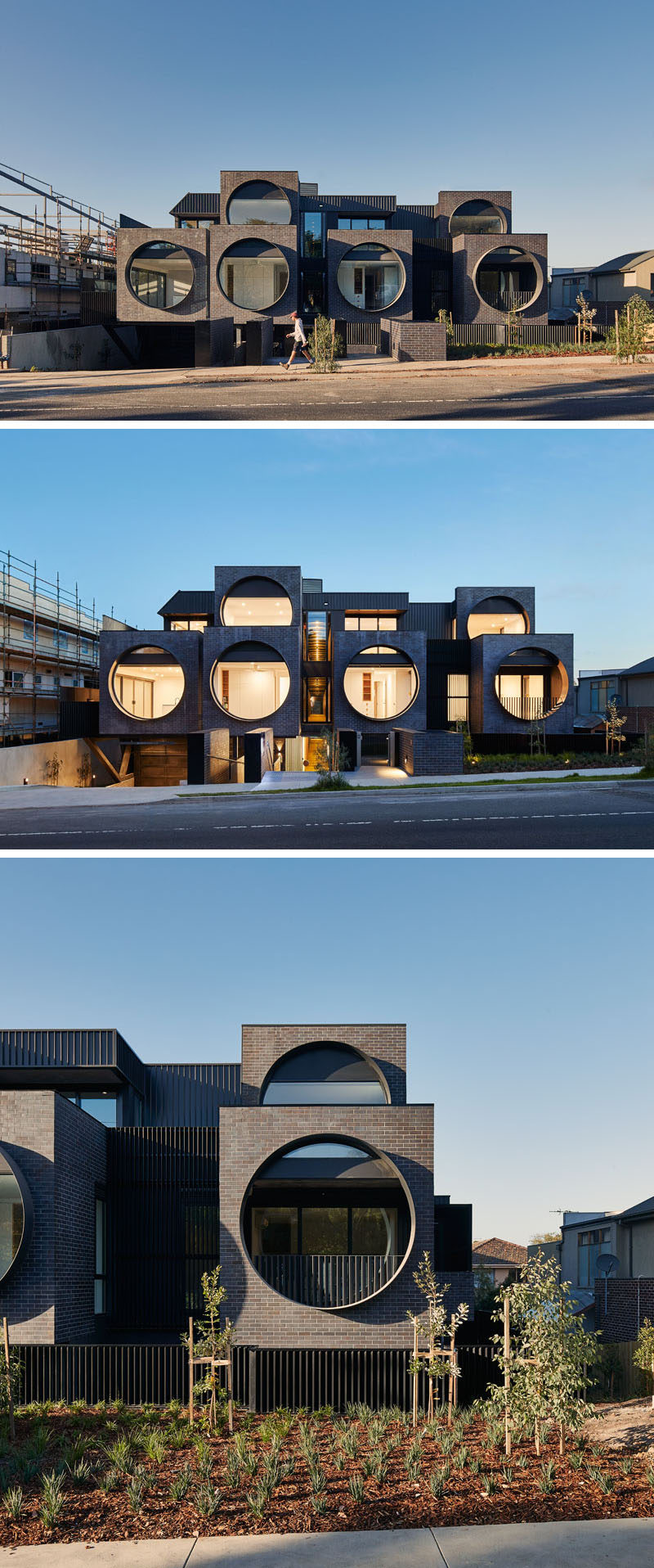 BKK Architects have recently completed the Cirqua Apartments that feature large porthole windows that face the street, and an exterior of weathered brick and standing seam metal. #Architecture #ApartmentBuilding #Windows #Brick