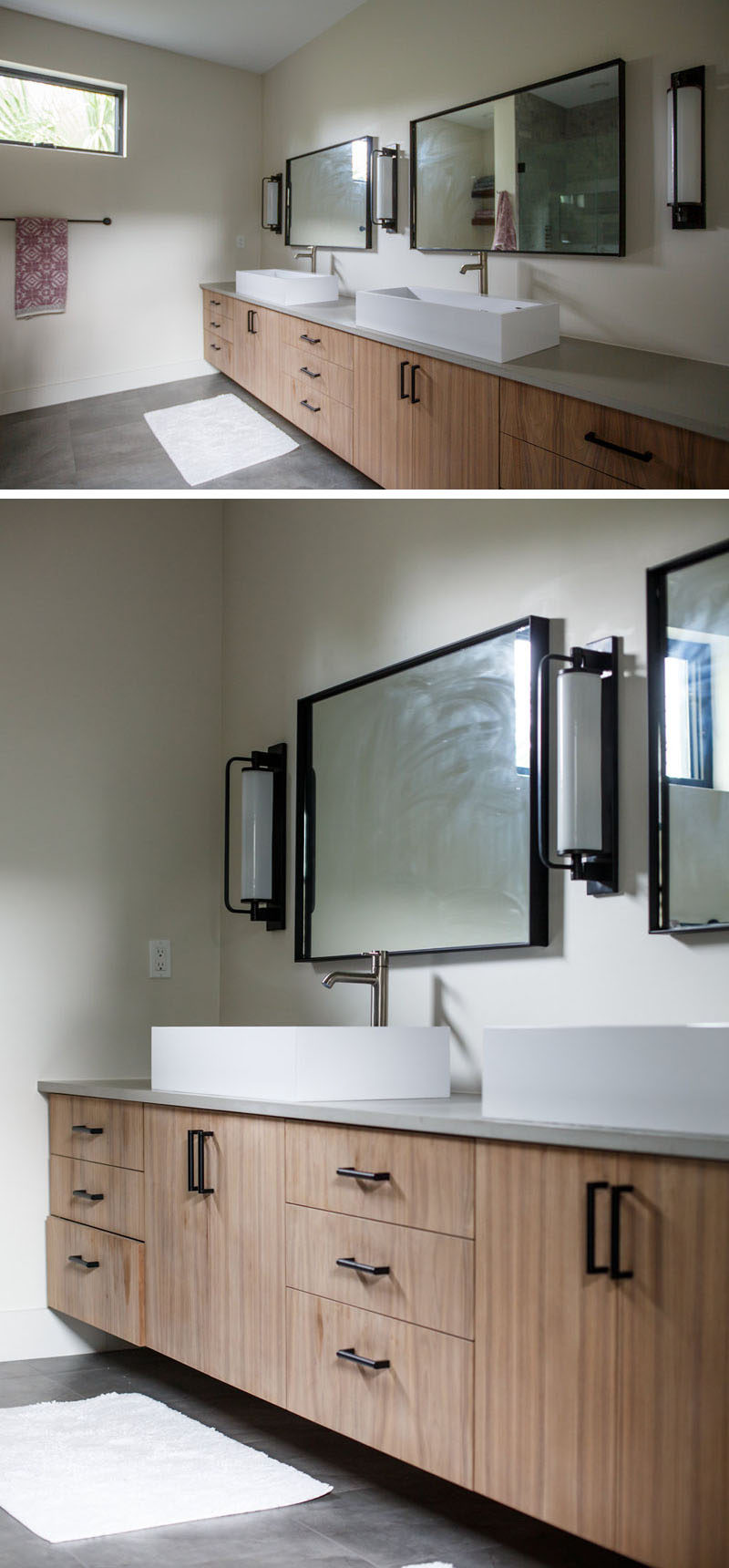 In this large bathroom, there's a wall-to-wall vanity with plenty of counter space and storage. #Bathroom #ModernBathroom #InteriorDesign #LargeVanity