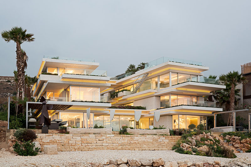 BLANKPAGE Architects together with Karim Nader Studio, have recently completed a modern multi-level beach house in Mounsef, Lebanon that overlooks the Mediterranean Sea. #Architecture #ModernArchitecture #BeachHouse