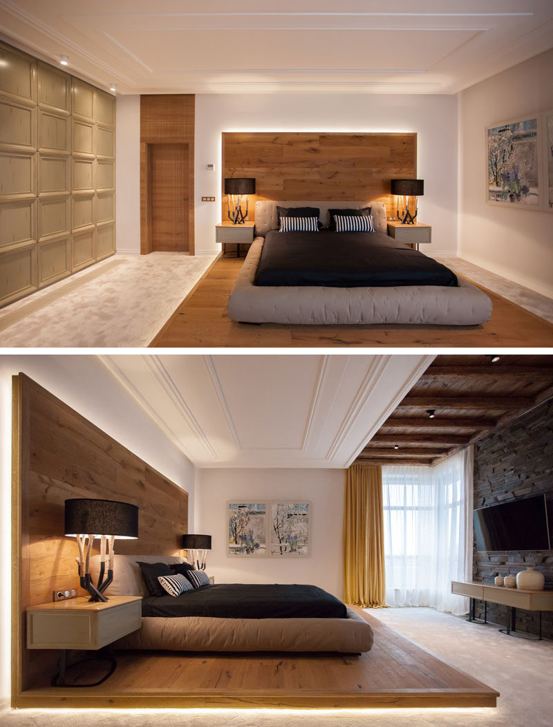 this bed platform wraps from the floor on to the wall contemporist. Black Bedroom Furniture Sets. Home Design Ideas