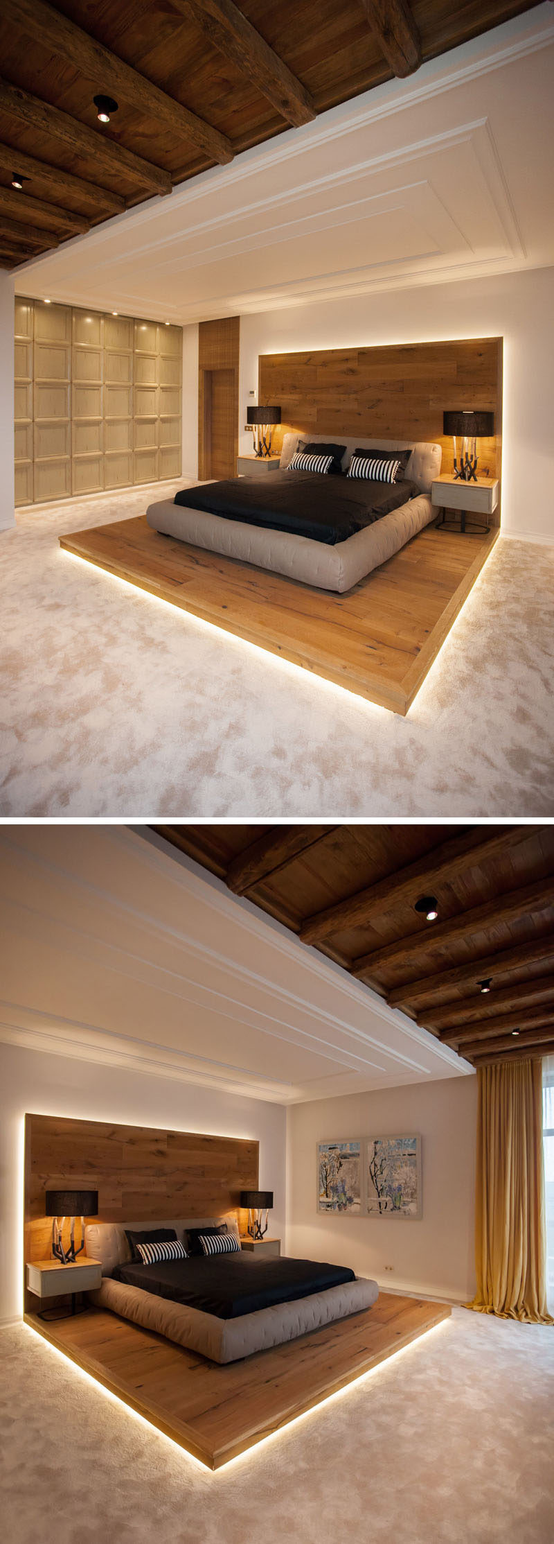 This bed platform wraps from the floor on to the wall for Raise bed off floor
