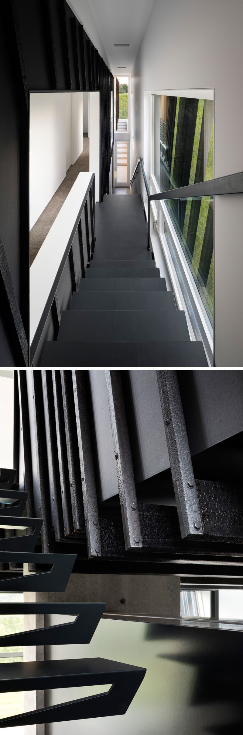 A black staircase leads up to the upper floor of this modern house, while windows provide plenty of natural light. #BlackStairs #ModernHouse #StairDesign