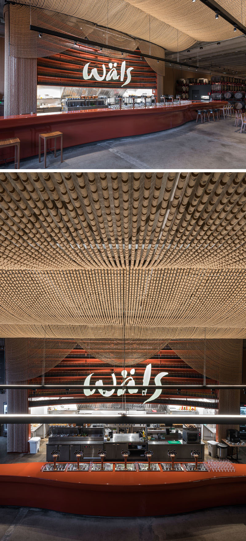 Inside this modern brewery, there's a bar area that's been designed as a reference to English-style India Pale Ale. Behind the bar is a large shelf full of bottles designed especially for the project, while above the bar, there's a large canopy made from 135,000 cork stoppers that create a theatrical appearance. #Brewery #RetailDesign #Bar #InteriorDesign