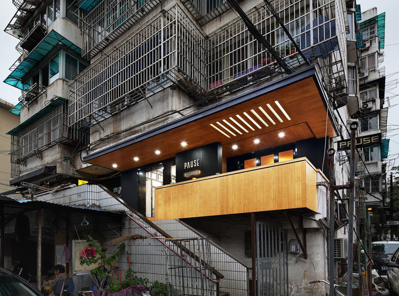 This Modern Coffee Full Of Matte Black And Bamboo Elements Is Nestled Within