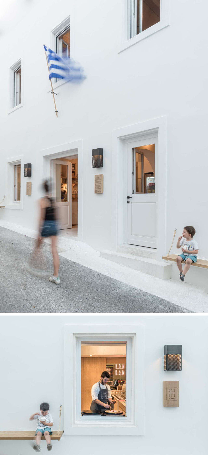 Outside this modern cafe, wood benches have been attached to the walls to provide a place to sit and eat. #ModernCafe #CafeDesign #CafeExterior #Greece