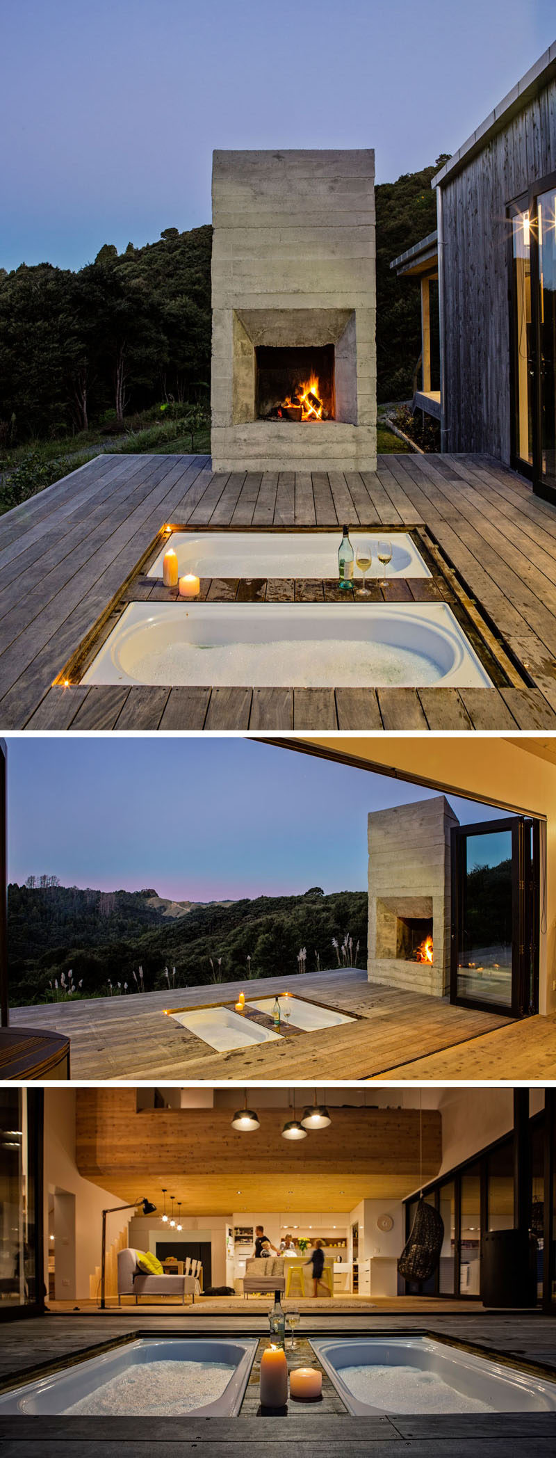 This modern house has an outdoor deck with a board-formed concrete fireplace and sunken bathtubs. #SunkenBathtub #OutdoorBathtub #OutdoorFireplace #ConcreteFireplace