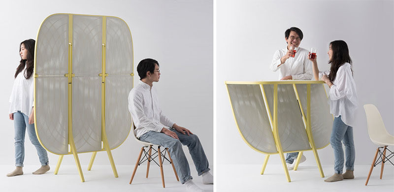 Designer Laurel Hwang has created a modern room partition for an open space, that when needed, can be transformed into a bar table. #ModernFurniture #RoomPartition #RoomDivider #BarTable #Design
