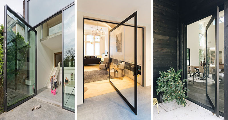 Pivoting glass doors are an alternative design idea to a more traditional door and by using & 11 Pivoting Glass Doors That Make A Statement And Let Natural Light ...