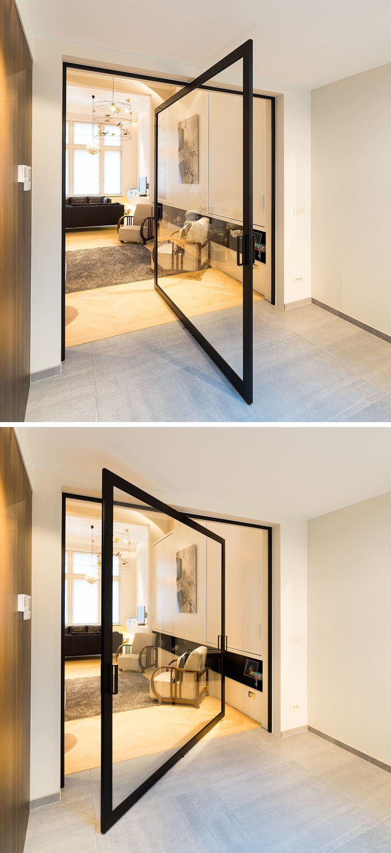 This pivoting glass door can turn a full 360 degrees. #PivotingGlassDoor #PivotingDoor #Door