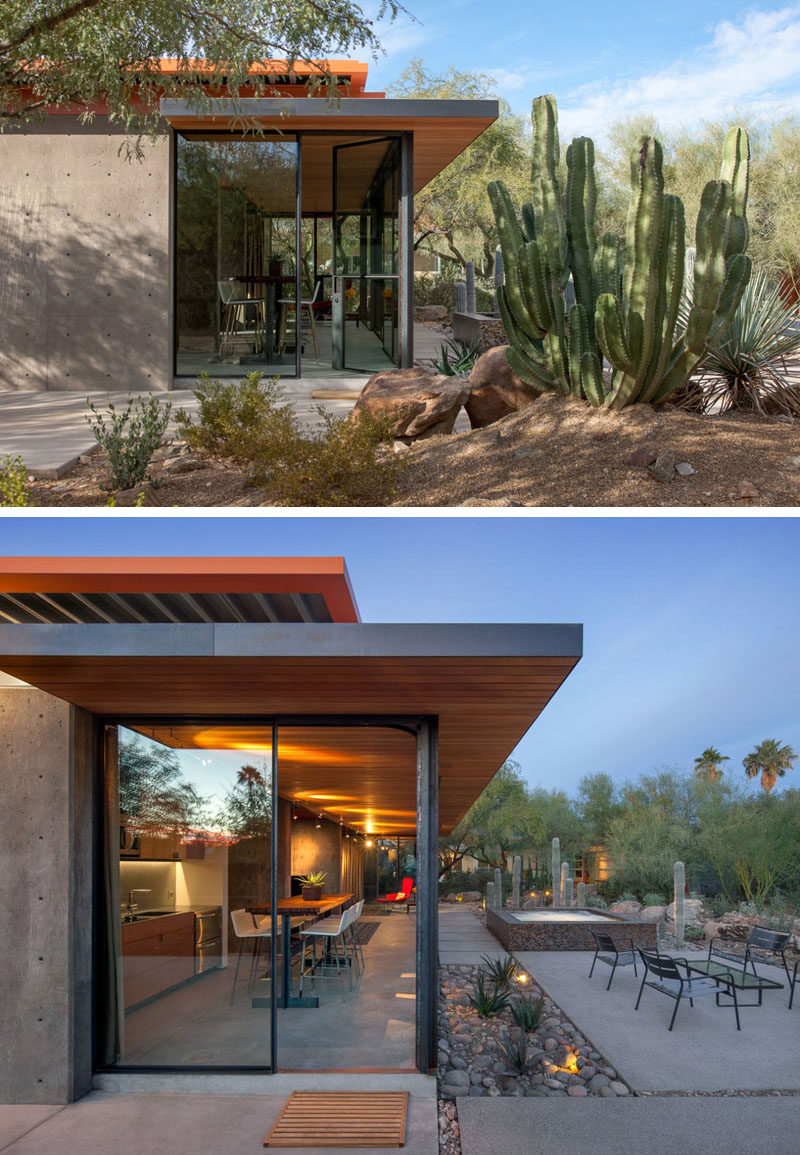 This modern guest house features an overhanging roof with the wood eaves traveling from the exterior through to the interior. #GuestHouse #WoodCeiling #Architecture #ModernArchitecture