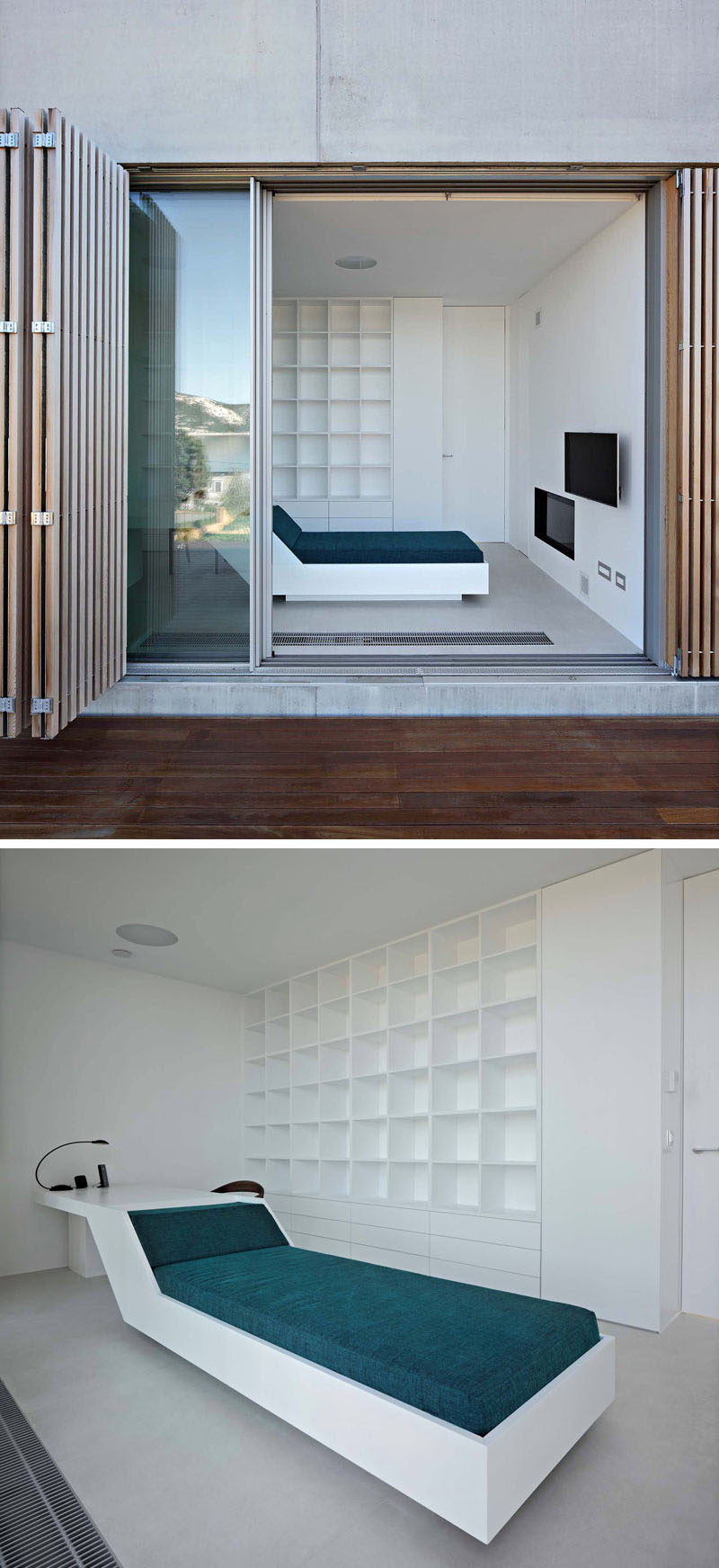 This modern home office can be accessed from the outside deck or from within the house. A custom furniture piece named nap'n'work was designed to have dual functions that include a desk to work on and a day bed to nap on. #Furniture #DayBed #HomeOffice #Desk #Design #InteriorDesign