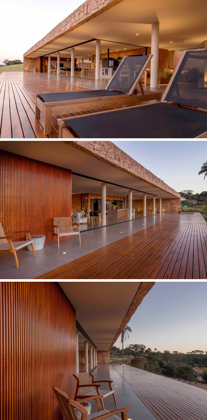 Accessible from all of the social areas of this modern house is a large wood deck that looks out over the valley. #Deck #ModernHouse