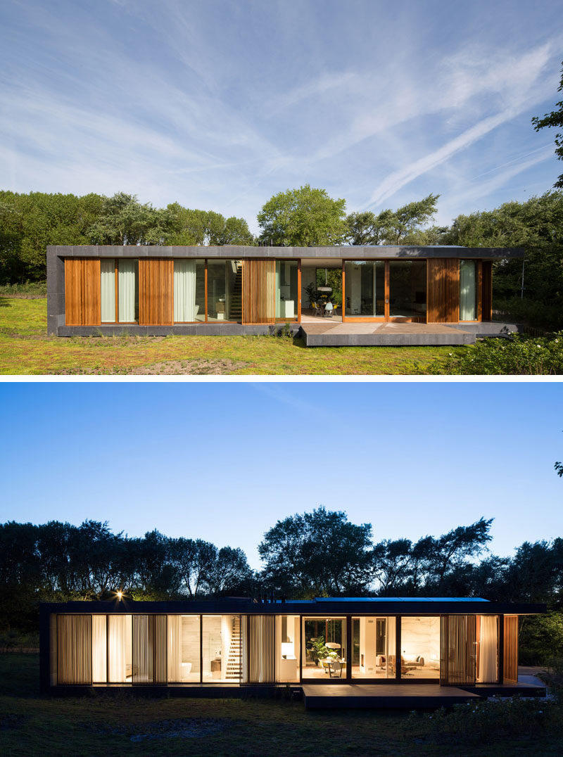 Architecture firm BERG + KLEIN, have designed a new villa in Hoek van Holland, The Netherlands, that combines concrete, wood and natural stone to create a modern facade. #ModernHouse #Stone #Wood #Architecture
