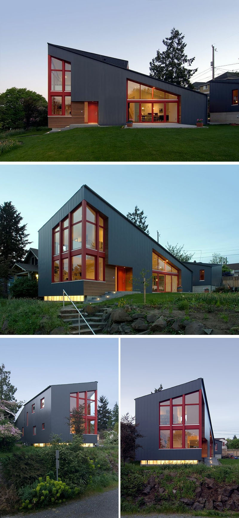 Stettler Design together with Paul Michael Davis Architects, have recently completed a new house in Seattle, Washington, that has a sloped roof and large windows that look out over the neighborhood. #ModernHouse #SlopedRoof #ModernArchitecture #Windows