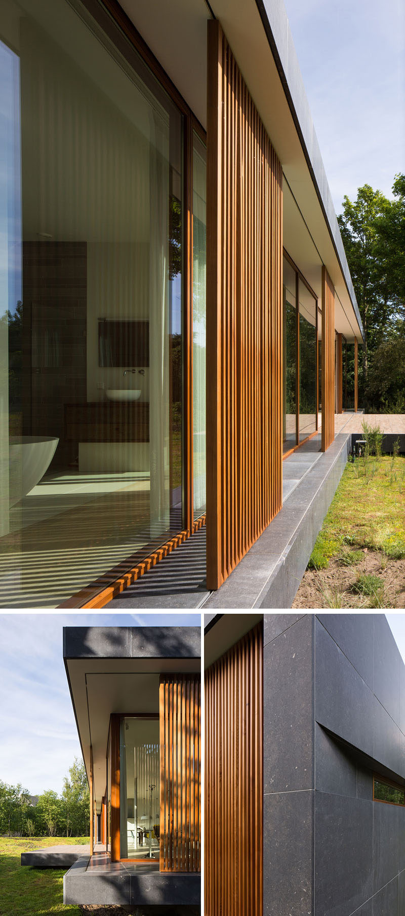 On the facade of this modern home, large scale, sliding wood mullions made from Western Red Cedar provide shade, privacy and protection to the home. The mullions can slide allowing the interior of the home to be opened up to the garden. #WoodScreens #Mullions #ModernHouse #ModernArchitecture