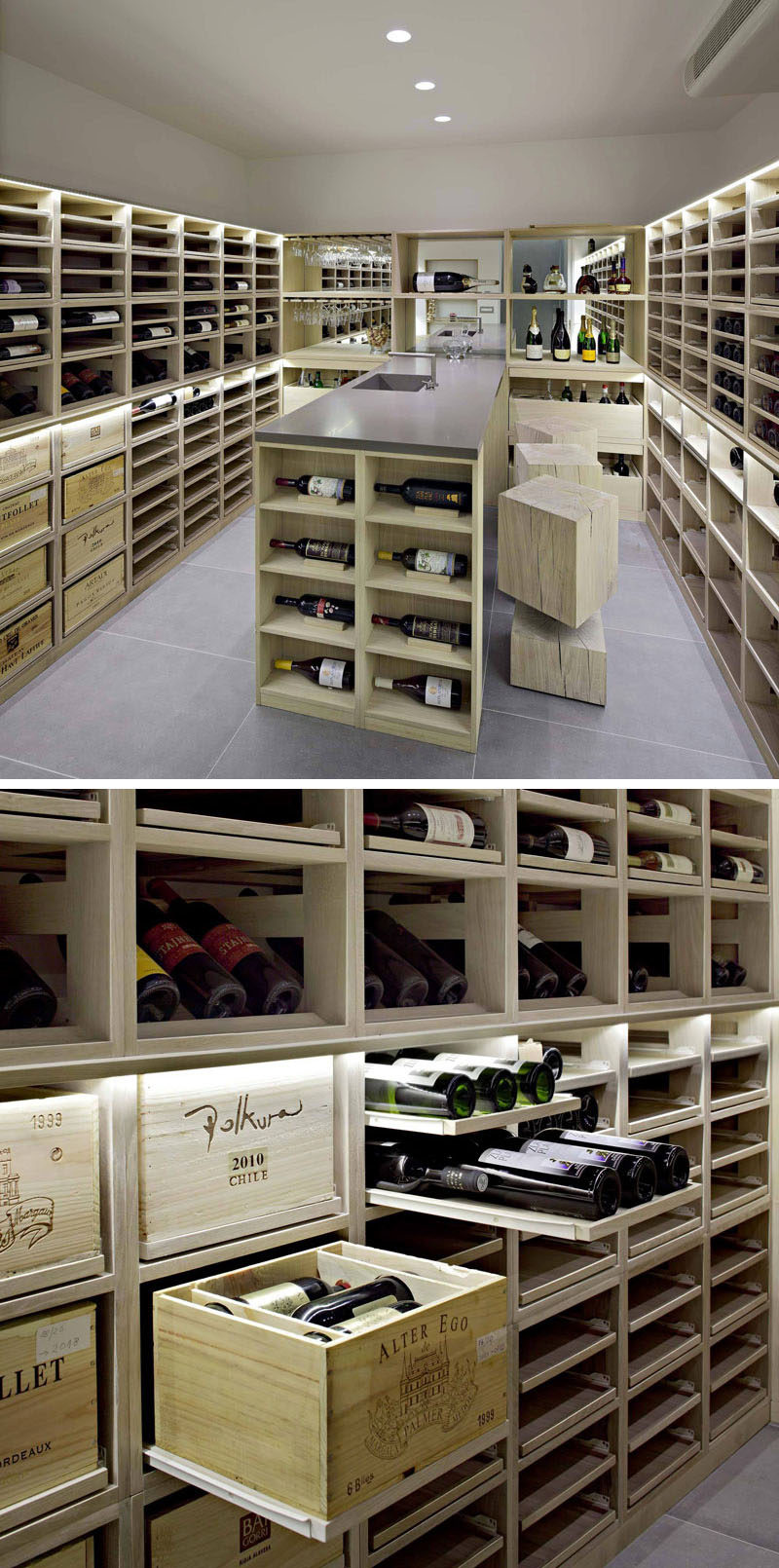 In the lower floor of this modern house, there's a wine cellar with custom built shelving with pull-out displays to show off the wine. #WineCellar #WineStorage #InteriorDesign