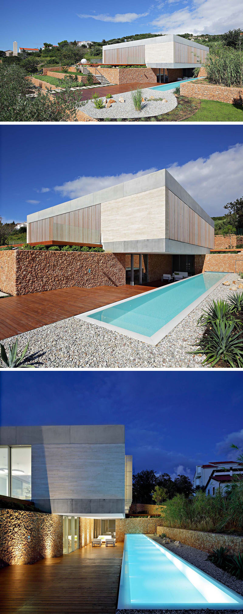 The exterior of this modern house uses smooth concrete, Travertine, vertical wooden shutters, and large sliding glass walls. To the side of the house, there's a covered terrace and a linear 55 foot (17m) long outdoor pool. #ModernHouse #ModernArchitecture #SwimmingPool #LandscapeDesign