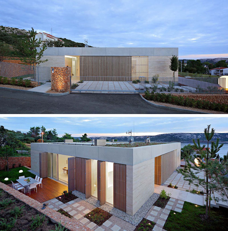 From the street, this modern house looks to be a single level home, however a second, lower level is hidden from view. #Architecture #ModernArchitecture #ModernHouse