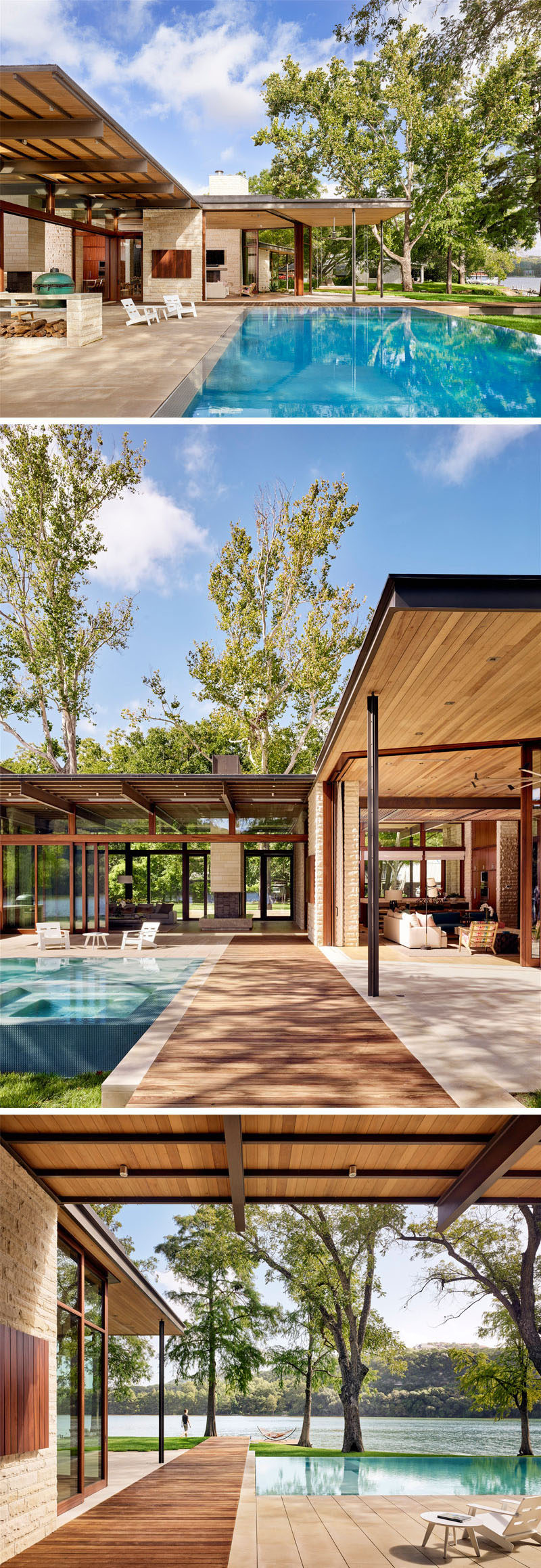 At the rear of this modern lakeside home there's a large swimming pool and outdoor spaces that are covered due to the overhanging roofline. A wood path, that matches the one at the front of the house, leads down to a dock on the lake. #ModernHouse #SwimmingPool #Landscaping