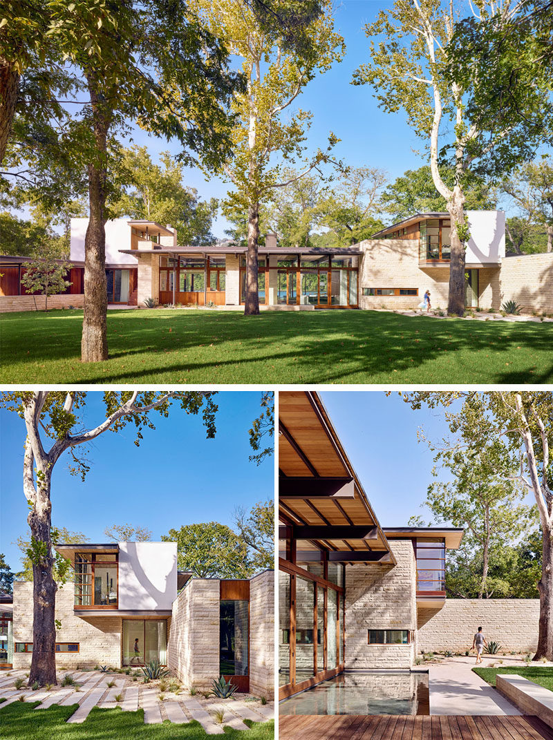 A landscaped front garden has mature sycamore, cypress and pecan trees with a stone and wood path leading to the front entryway of this modern house. #Architecture #ModernHouse #Landscaping #LandscapeDesign