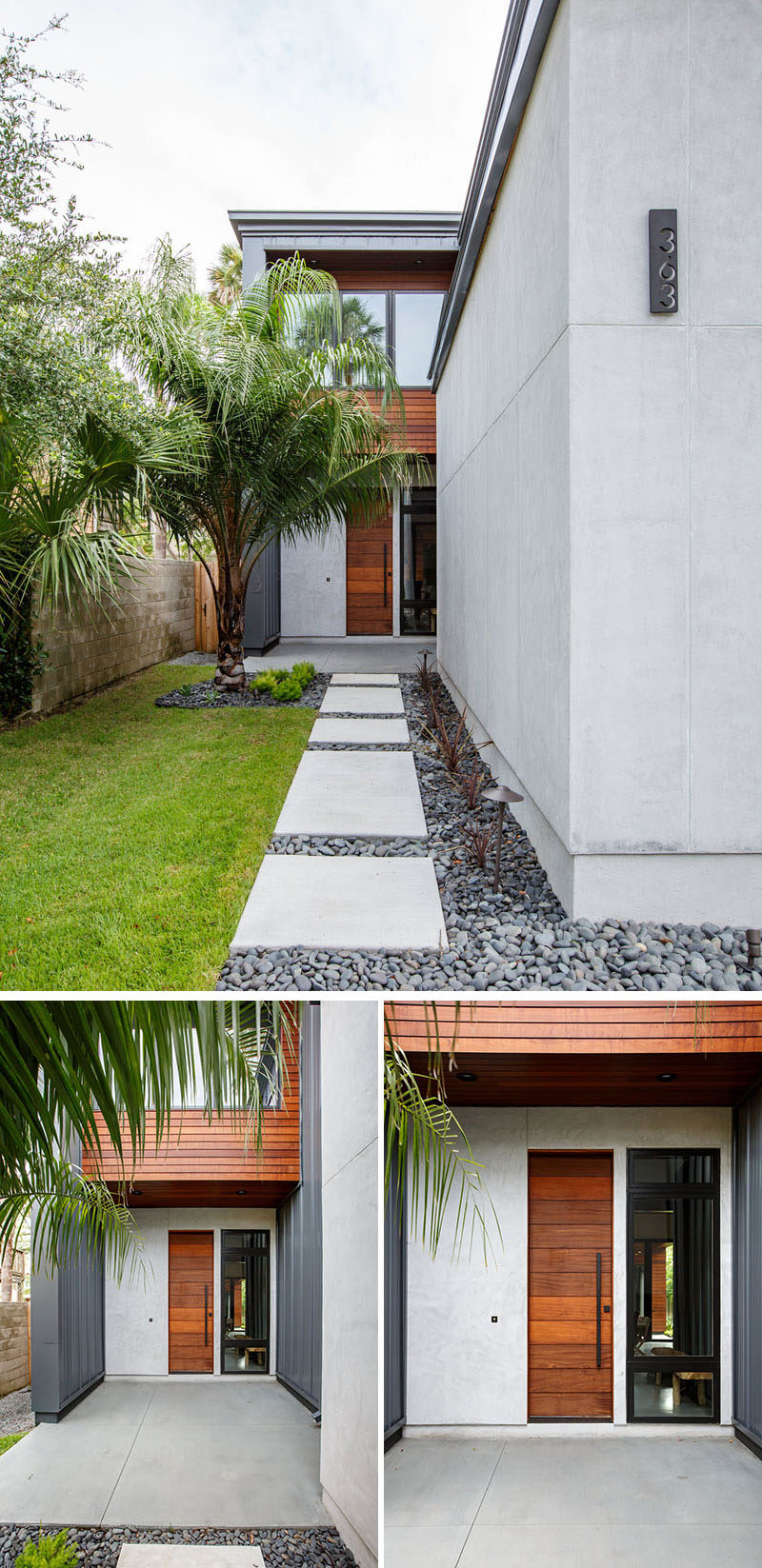 The wood front door of this modern house is tucked away down a path of pavers that's surrounded by pebbles and grass. #landscaping #path #ModernFrontDoor #ModernHouse
