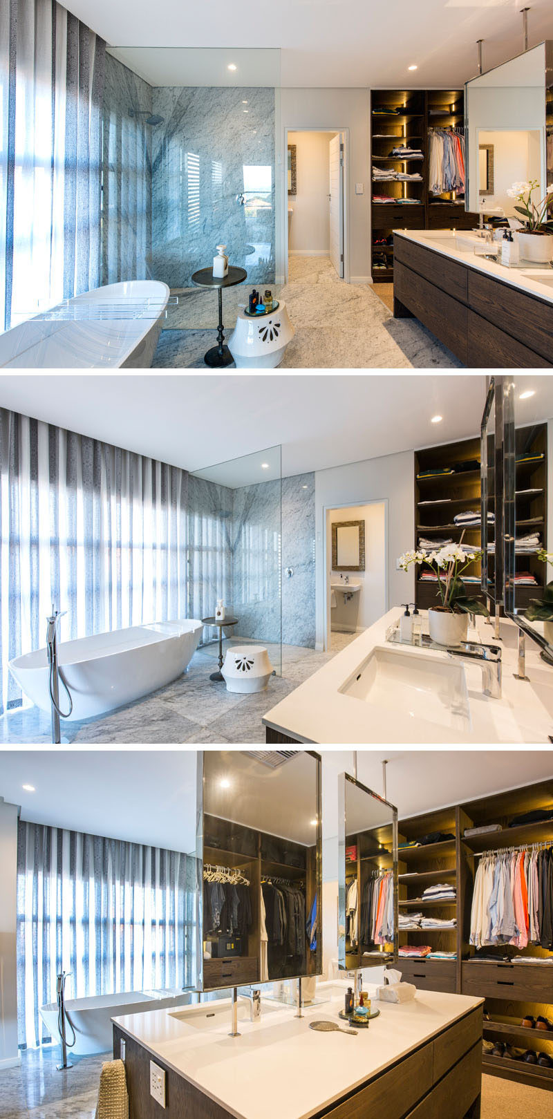 In this modern master bathroom, the space is open plan with the glass enclosed shower, bath, double-sided vanity and closet all sharing the same room. #Bathroom #MasterBathroom #EnsuiteBathroom #Closet
