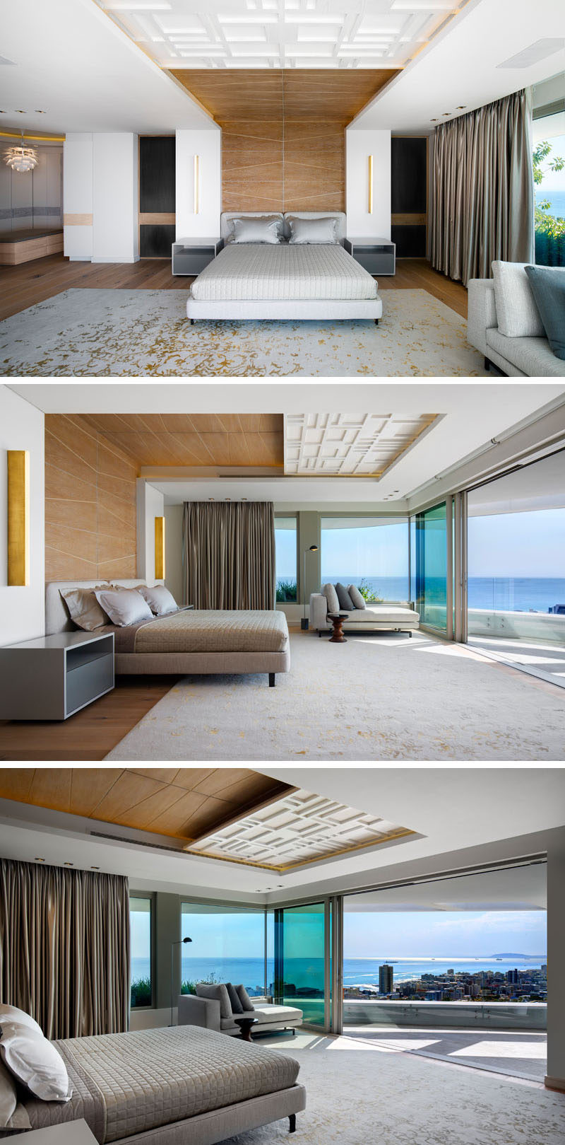 In this modern master bedroom, timber paneling wraps from behind the bed and up onto the ceiling, while the bedroom opens up to a private terrace with expansive views. #MasterBedroom #WoodAccent #InteriorDesign #ModernBedroom