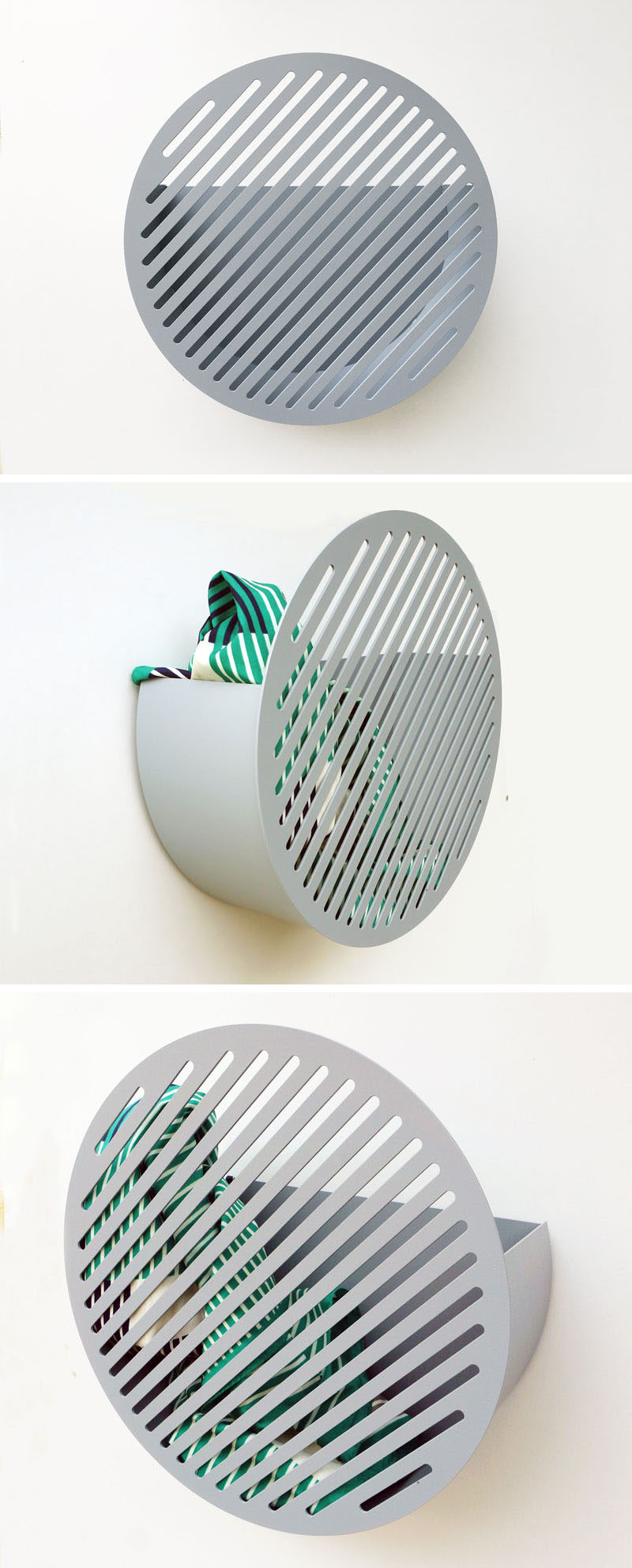 Swedish design studio Andréason & Leibel, have created a modern wall basket storage shelf that features a graphic diagonal pattern on the front. #WallBasket #ModernDecor #ModernHomeDecor #Storage #Design