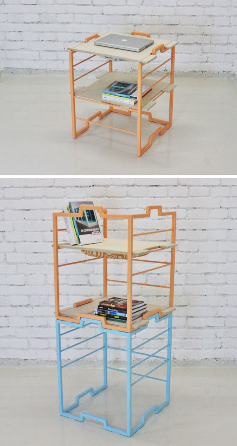 Slovakian design student Jana Lukcova, has created BLOK 3/1, a piece of multi-functional furniture that can be used as a chair, a side table or stacked to become a bookshelf. #Furniture #Design #MultiFunctional #Chair #Table #Bookshelf