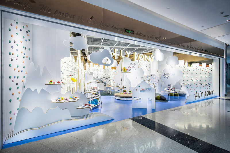 PRISM DESIGN have recently completed Fly Pony, a new modern children's shoe store in Shanghai, China, that is full of wonder and represents a story of a young child. #ShoeStore #RetailDesign #InteriorDesign #StoreDesign