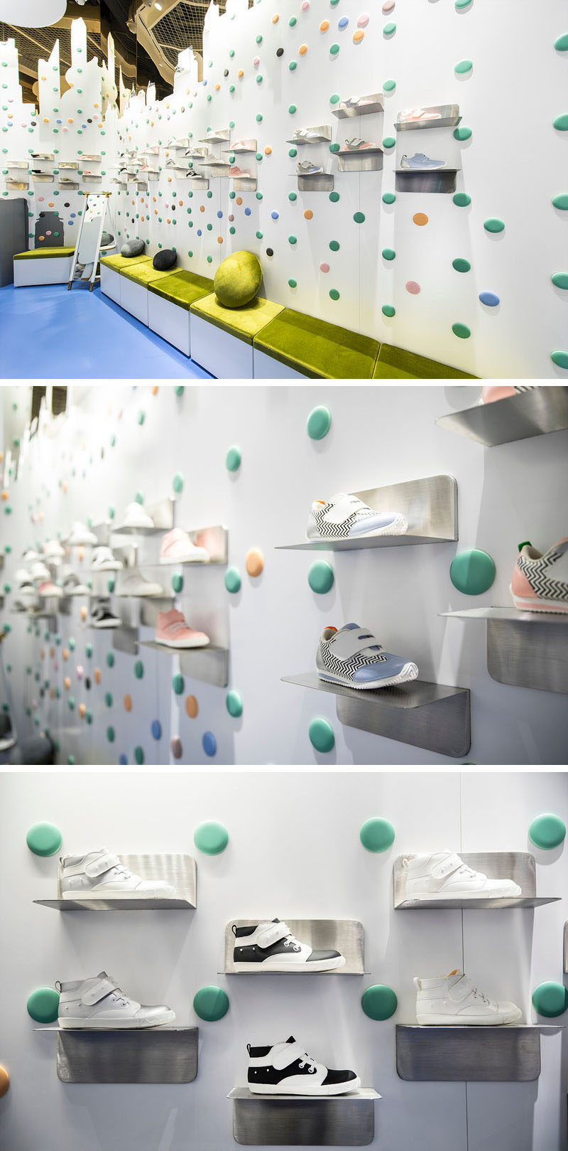 """In this modern kid's shoe store, metal display shelves in the shape of an """"L"""" are attached to the wall above a bench with a bright green cushion. #Shelving #ShoeStore #RetailDesign #InteriorDesign #StoreDesign"""